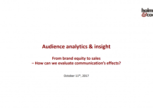 From brand equity to sales – How can we evaluate communication's effects?