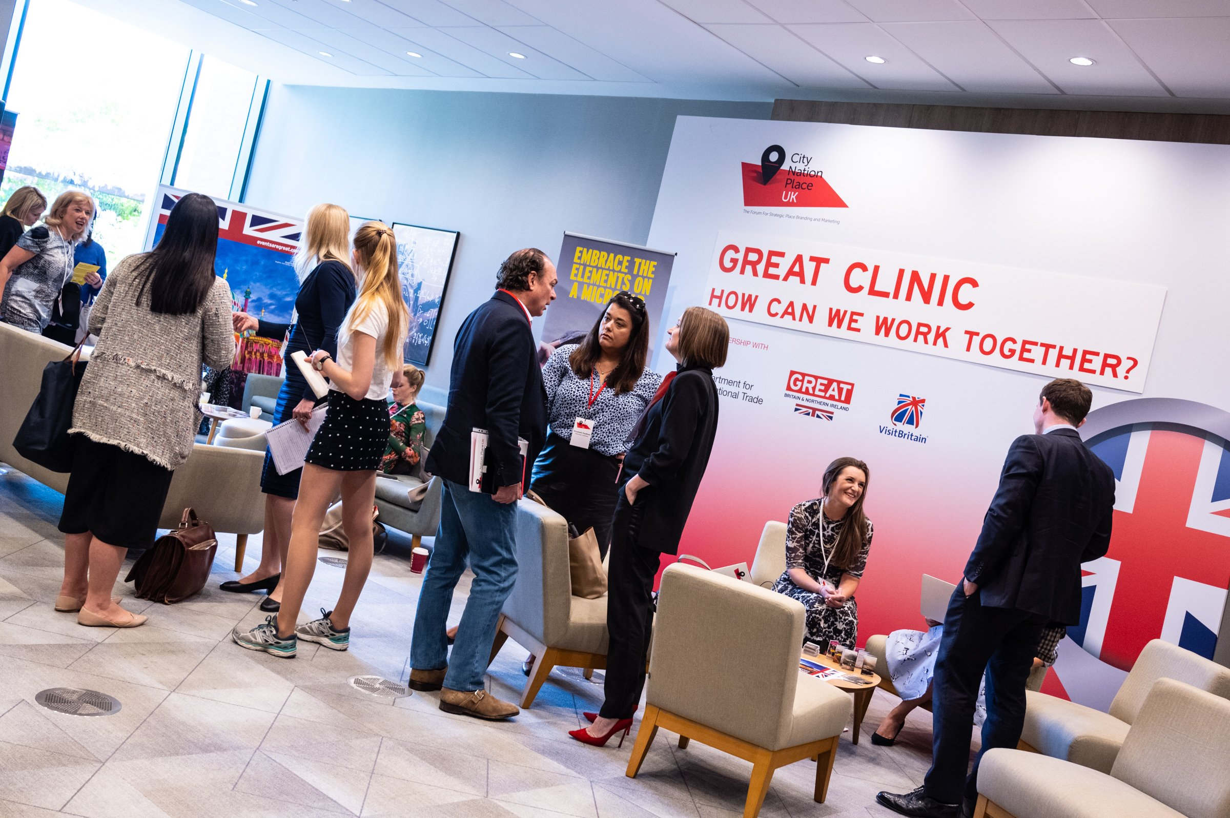 GREAT Britain Clinic networking area at City Nation Place UK 2019