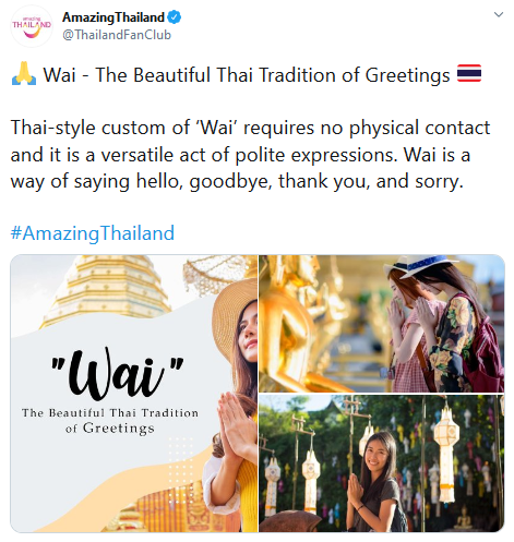Twitter post from Amazing Thailand about the Wai traditional greeting