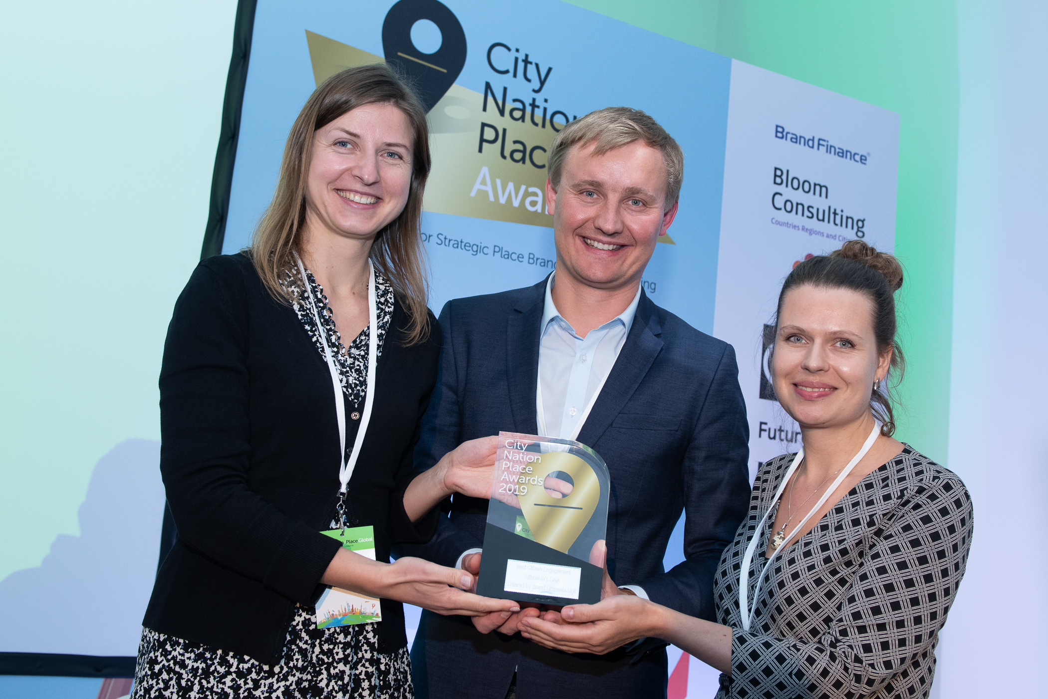 The team from Lithuania celebrate winning the 2019 Best Citizen Engagement Award