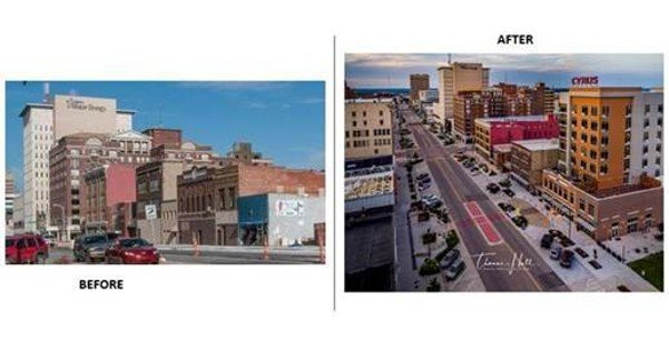 Before and after image of Topeka's downtown