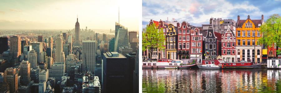 1) Skyline of New York & 2) Canal-side view of Amsterdam
