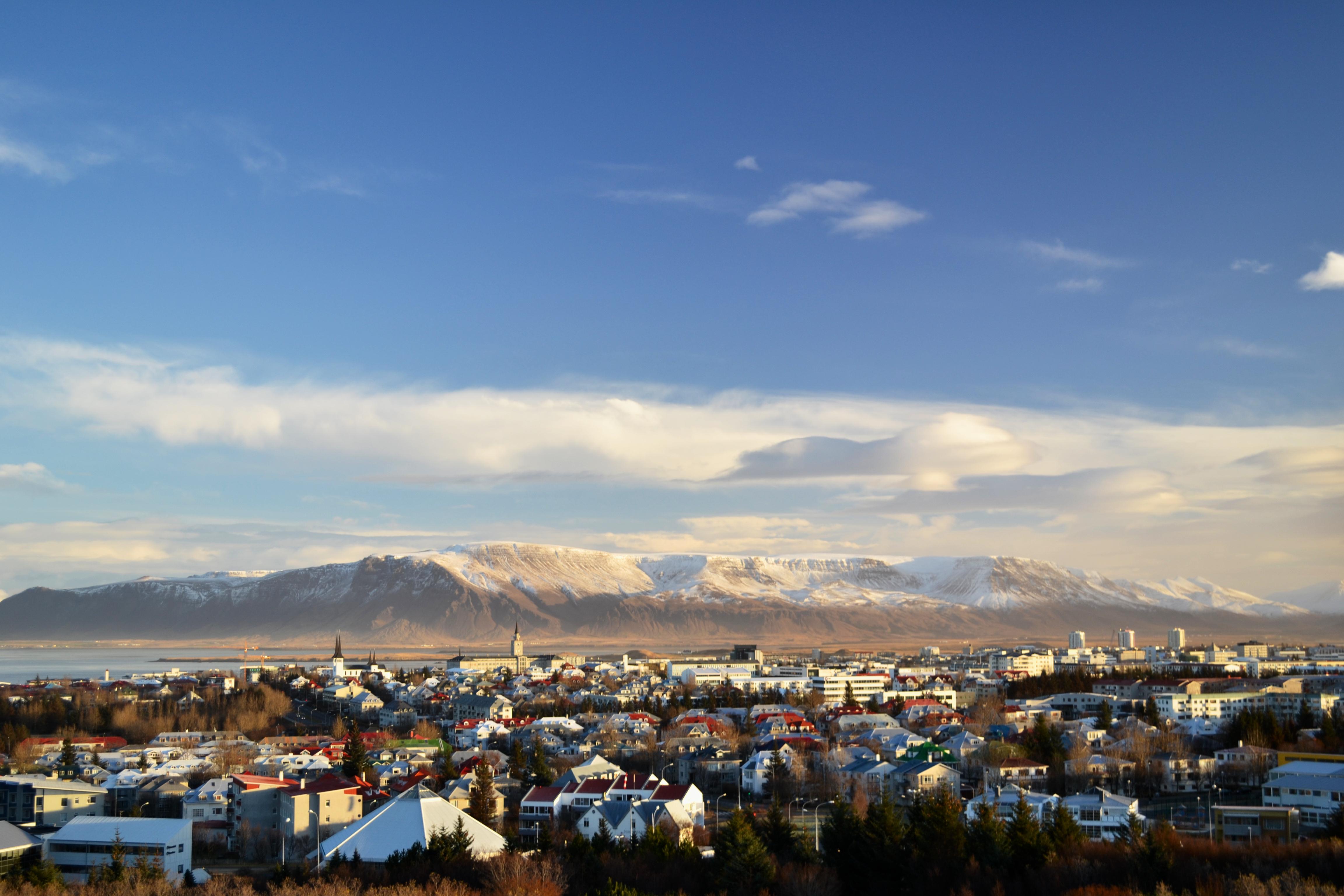 Aerial shot of Reykjavic, Iceland
