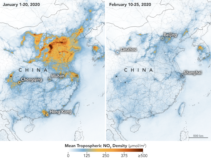 Air satellite imagery of pollution levels in China before and during the lockdown