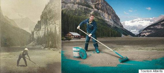 Picture of a man painting Lake Louise Turquoise Blue as part of an advertising campaign with Pantone