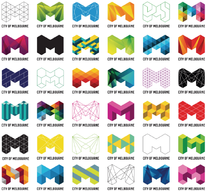 Examples of Melbourne's new brand design identity