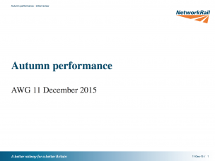 Autumn Performance – Network Rail