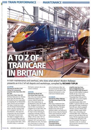 A to Z of traincare in Britain