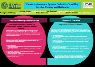 University of Bath – Human Autonomous Systems Collective Capability: Decision Making and Rationales