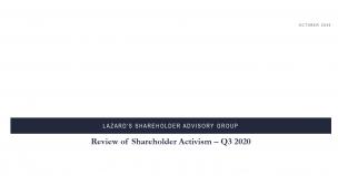 Lazard - Review of shareholder activism - Q3 2020