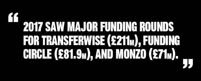 "Quote: ""2017 Saw major funding rounds for Transferwise, Funding Circle and Monzo"""